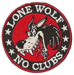 Patch-ecusson-blason-patche-Lone-Wolf-no-Clubs-biker-thermocollant