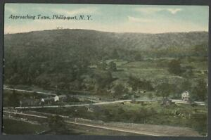 Phillipsport-Mamakating-NY-c-1907-10-Postcard-APPROACHING-TOWN-Railroad-Tracks