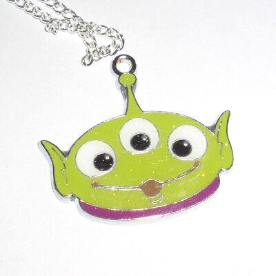 Kitsch Kawaii Esmalte Brillo encanto collar Toy Story Alien 3 ojos