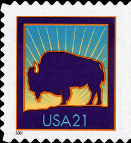 2001 21c Bison, Booklet Single, SA Scott 3484a Mint F/V