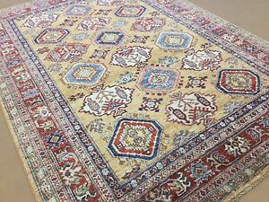 Area Rug Geometric Hand Knotted Wool