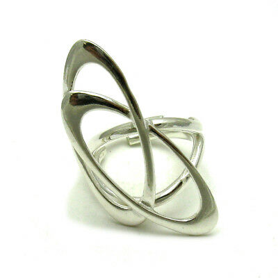 V R000063 EMPRESS LONG STERLING SILVER RING SOLID 925 TWO HEARTS NEW SIZE G
