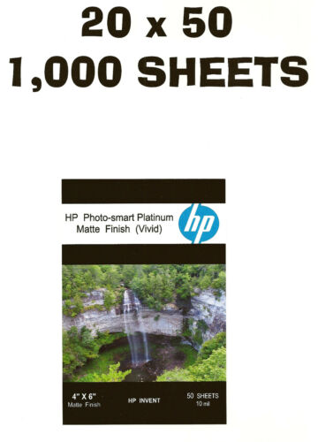 HP Photo-smart Platinum Matte Vivid~~4 x 6 Borderless Photo Paper~1,000ct~10 mil