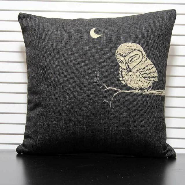 Sleepy Night Owl on Tree Moon Cushion Cover Throw Pillow Case Linen Home Decor