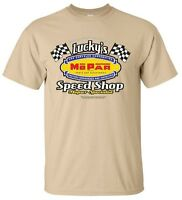 Luckys Mopar Speed Shop Vintage Mens Tan T Shirt