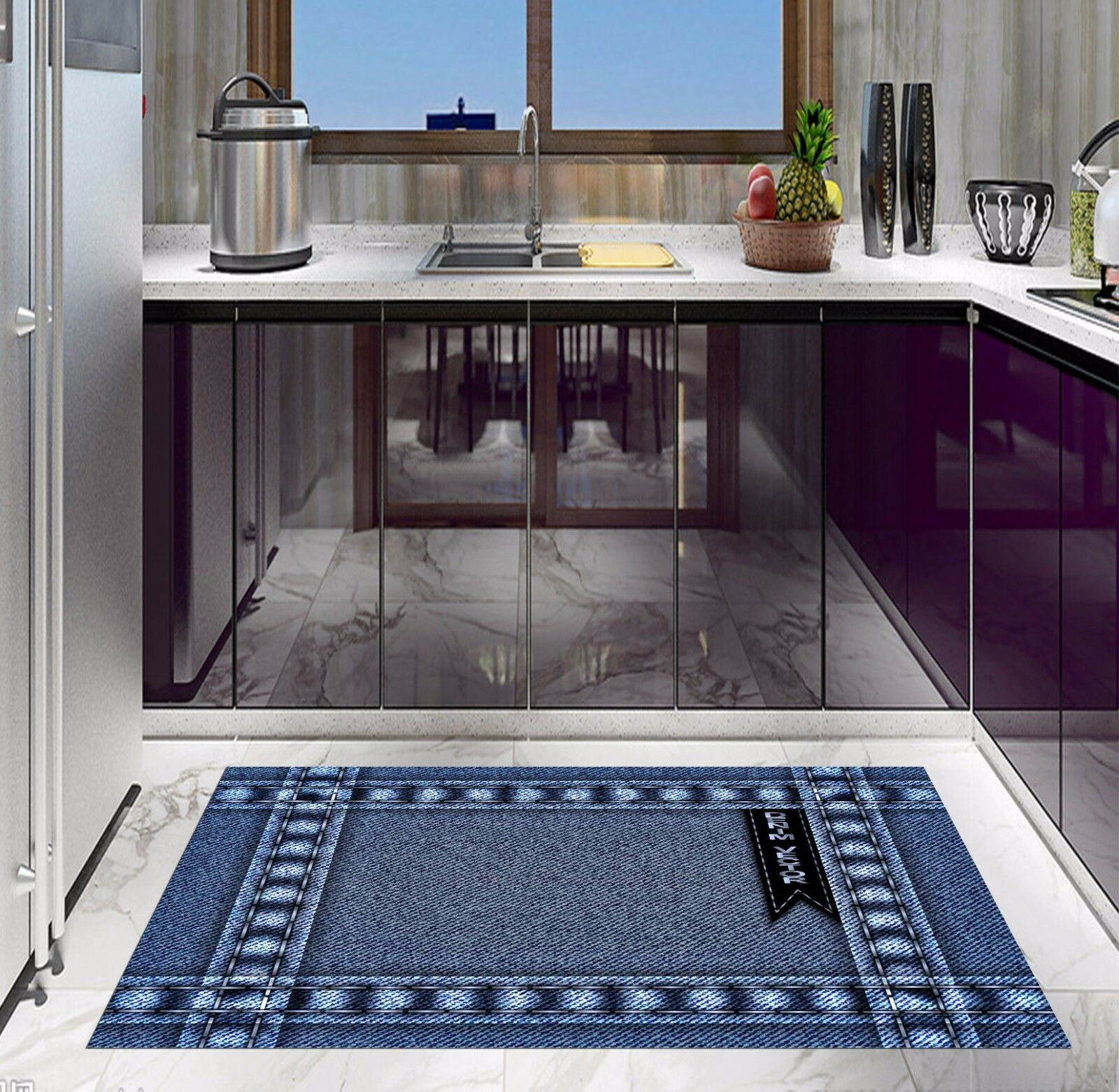 3D Denim Texture Kitchen Mat Floor Murals Wall Print Wall Deco AJ WALLPAPER AU