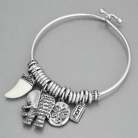 Silver Elephant Horn Lucky Clover Statement Charm Indie Bohemian Style Bracelet