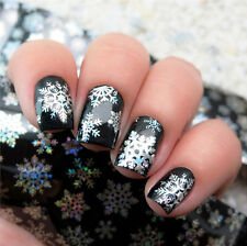 DIY Nail Art Transfer Foils Sticker Xmas Snowflake Series Holographic Paper Tips