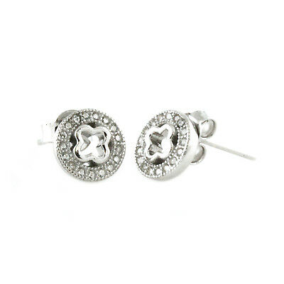 Sterling Silver 925 Cubic Zirconia Channel Set Celtic Cross Circle Stud Earrings