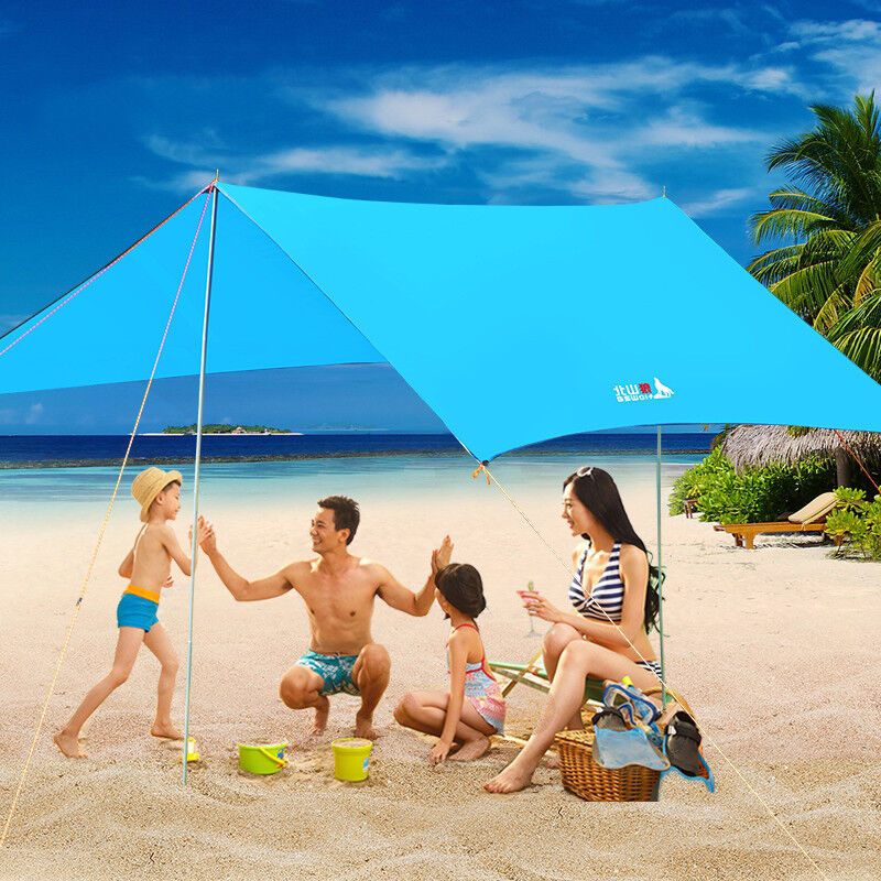 Waterproof Tent Tarp Sunshade Beach BBQ Canopy Awning with Pole Accessories Kit