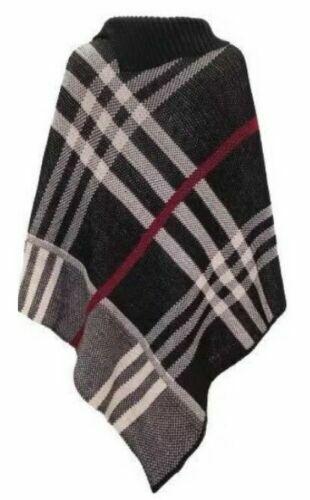 Ladies Women Poncho Tartan Check Knitted Cape Jumper Warm Winter Shawl Size 8-16