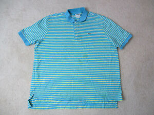 Lacoste-Polo-Shirt-Adult-Extra-Large-Size-7-Blue-Green-Striped-Crocodile-Mens