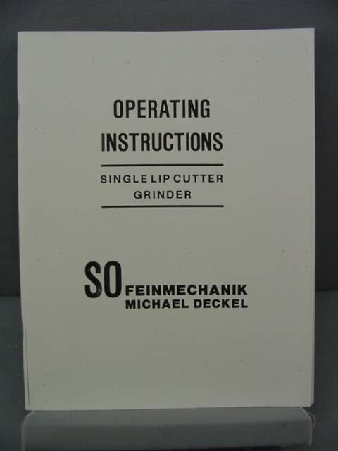 Deckel Single Lip Cutter Grinder Instruction Manual