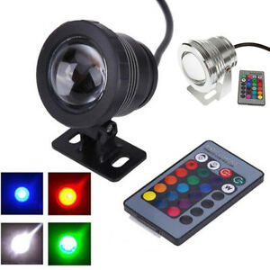 10w 12v rgb led unter wasser strahler licht ip65 wasserdicht teich aquarium ebay. Black Bedroom Furniture Sets. Home Design Ideas