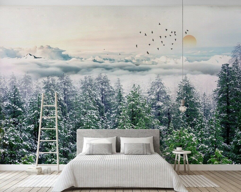 3D Snow Tree 34 Wall Paper Exclusive MXY Wallpaper Mural Decal Indoor wall AJ
