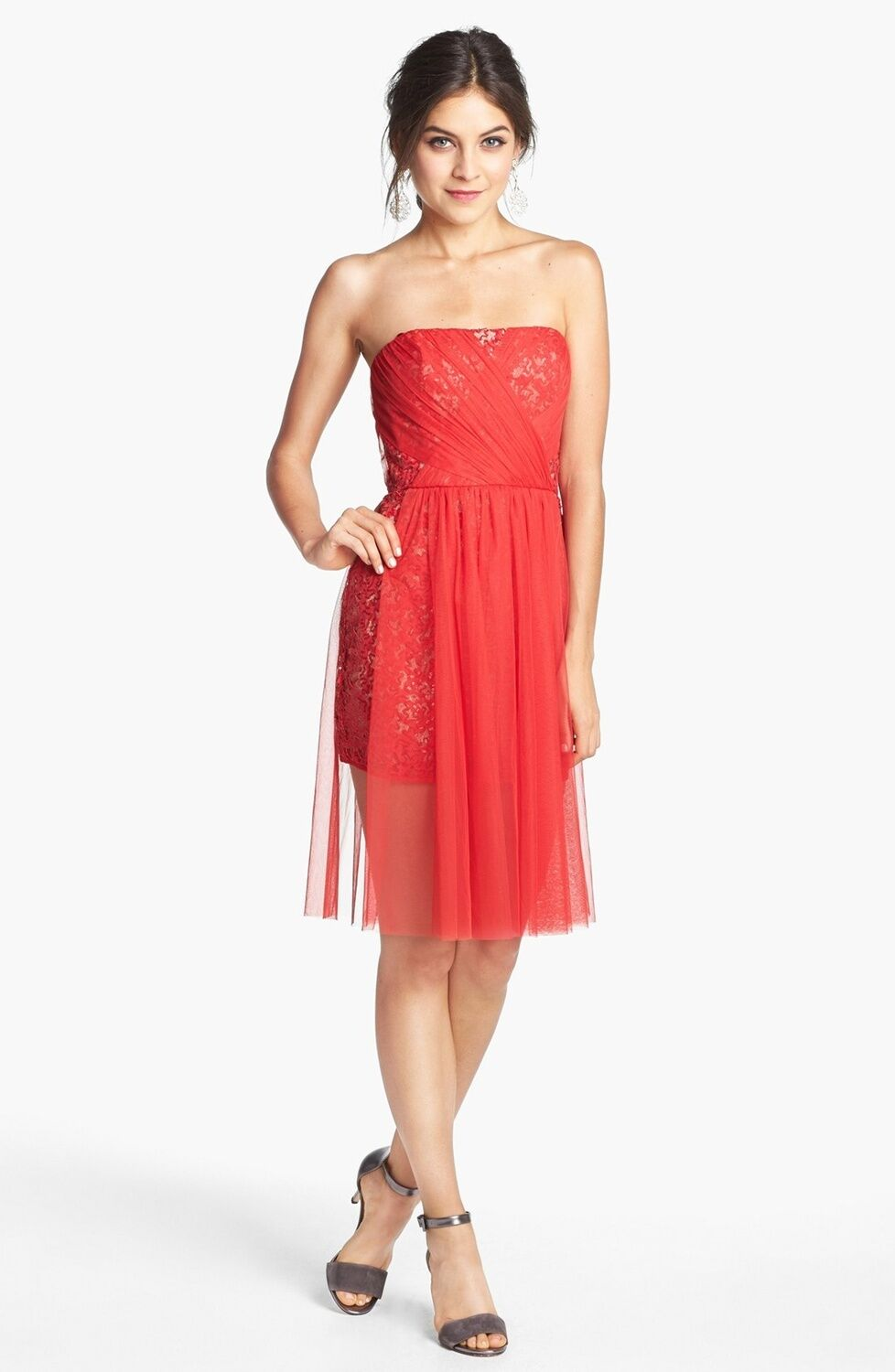 NWT BCBG MAXAZRIA Vienna Strapless Sequin Dress Jewel Red size 8