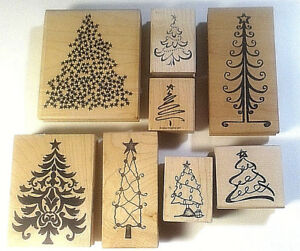 Patriotic Christmas Trees.Christmas Trees Rubber Stamps Star Topped Holiday Fancy