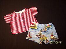 """Clothes 11""""-13"""" Baby Doll Boy """"At the Shore"""" Shirt Shorts Handmade 2+ Sailboats"""