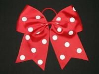 polka-dot Red Cheer Bow Pony Tail 3 Inch Ribbon Girls Hair Cheerleading
