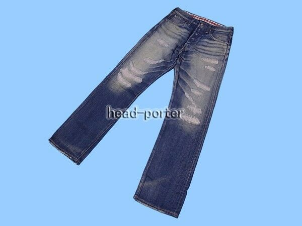 OriginalFake 12A W DENIM PANTS DAMAGED STRAIGHT JEANS (Indigo) Size 1 (OF-538)