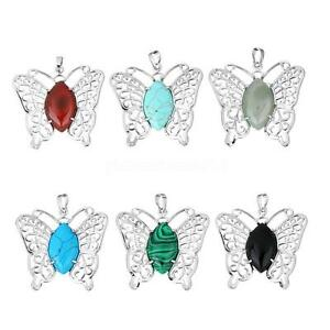 Fashion-Healing-Gemstone-Necklace-Pendant-Silver-Hollow-Butterfly-no-Chain-Gift