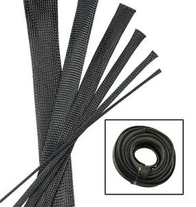 BLACK Wire and Hose Sleeve Sleeving Kit Braided Cover Loom Protector ...