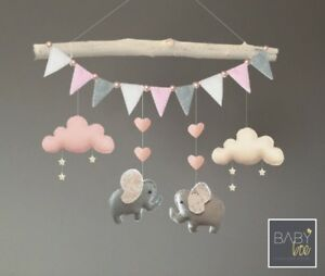 Image Is Loading Handmade Felt Elephant Cloud And Stars Baby Cot