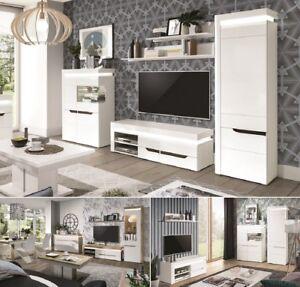 Details zu Wohnwand Anbauwand weiß hochglanz Wohnzimmer Set C IRIS LED  Soft-Close 2 Farben