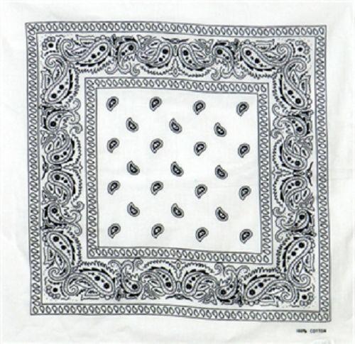 "Wholesale Lot 3 22/""x22/"" Paisley Black and White Bandana"