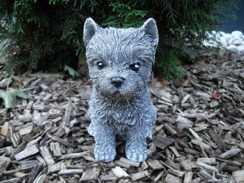 Steinfigur Yorki Terrier Welpe Hund Frostfest Steinguss Garten Deko