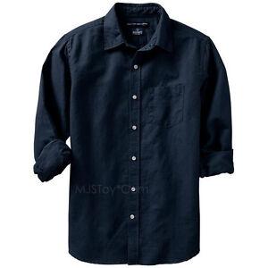 New old navy men 39 s regular fit linen blend shirts dark for Mens light blue linen shirt