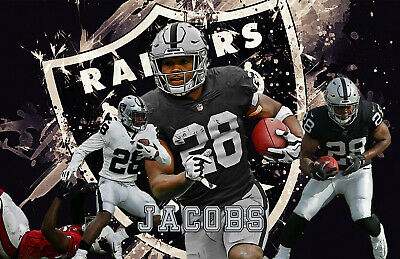Oakland Raiders Lithograph Print Of Josh Jacobs 17 X 11 Ebay