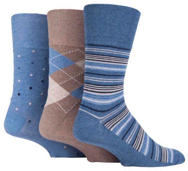 3 Pairs Mens Brown Blue Argyle Stripe Spot Cotton Gentle Grip Socks, Size 6-11