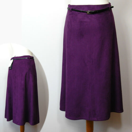 A-Line SKIRT with Belt ~ Size 10 ~ PURPLE M/&S CLASSIC Faux SUEDE Midi
