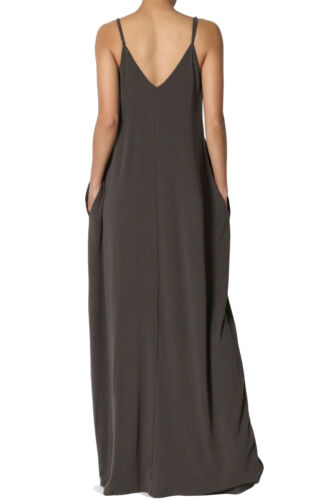 Womens Casual Cami V-Neck Jersey Soft Long Maxi Dress
