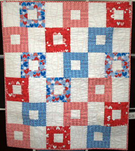 Handmade Cotton Quilt Heart Theme Red White Blue Really Nice Crib Quilt Usa Made Ebay
