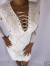 Sexy White Lace Mini Dress With corset chest detail Zipper closure S/M