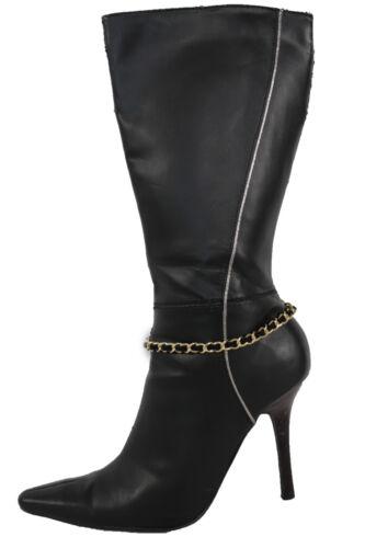 Women Fashion Boot Bracelet Gold Metal Chain Link Anklet Shoe Charm Black String