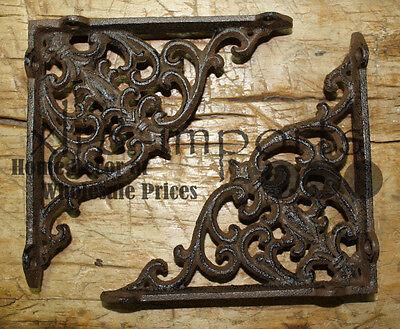 2 Cast Iron Antique Style SM Fat IVY SCROLL Brackets Garden Braces Shelf Bracket