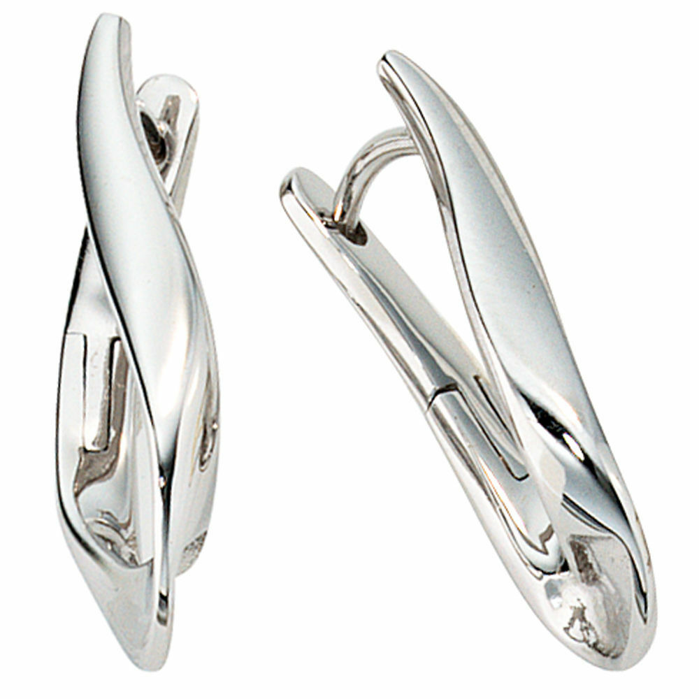 Creole Hoop Steel Earrings in 333 White gold, shiny, twisted, Earrings, Ladies