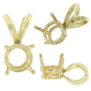 14K-Yellow-Gold-Round-Pendant-Setting-Rabbit-Ear-Bail-Mounting-0-05ct-5-00ct