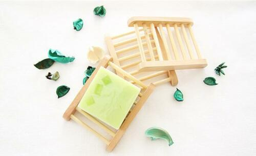 Natural Bamboo Soap Holder Dish Bathroom Shower Plate Stand Storage Wood Tray LD