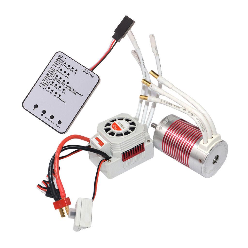 3660 3800kv MOTORE BRUSHLESS 60a + ESC + + + LED scheda di programmazione per 1 10 e77a03