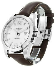 Longines Conquest Silver Dial Brown Leather Men Watch L36594765 / L37594765 New