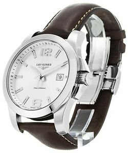 longines conquest silver dial brown leather men watch l36594765 image is loading longines conquest silver dial brown leather men watch