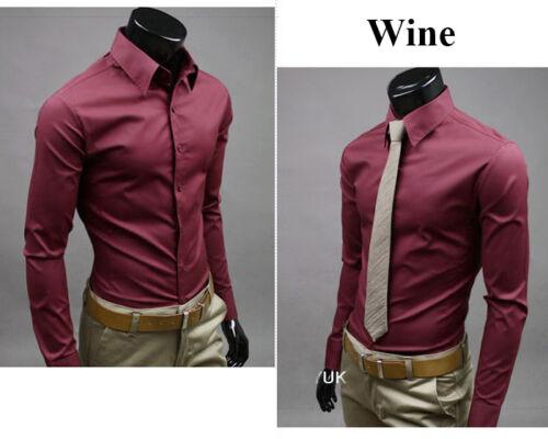 Herren Hemd Business Hemden Bügelleicht Hochzeit Retro Slim Fit Formal Shirt Top