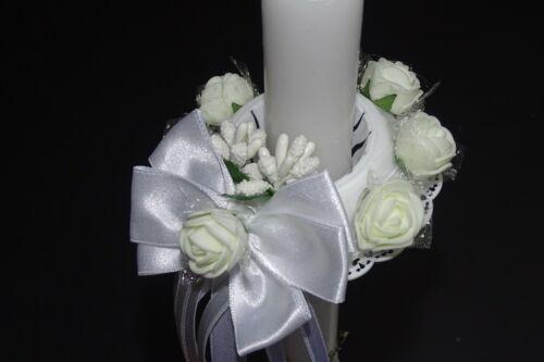Kerzenrock weiß Rose Kreuz Tropfschutz Kerzentuch Kerzenkleid Kommunion 211