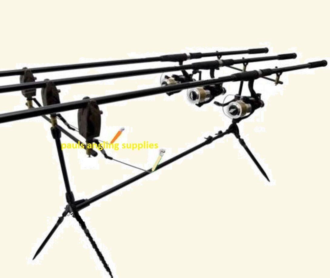 Carp Fishing Kit   Set 3 Rods 3 Reels Rod Pod Line Alarms Indicators Rests 2.75