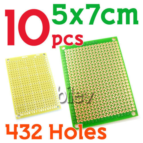 10 x Breadboard Prototype PCB 5cm x 7cm 432 Holes FR4 Green DIY