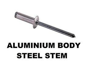 Qty 400 Dome Rivet 73 AS 4-3 Aluminium / Steel 1/8 - 3.2mm x 8mm Blind Pop